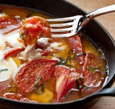 Oven Roasted Tomatoes w/ Fresh Mozzarella and Basil