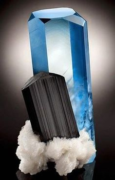 Aquamarine with Schorl (black Tourmaline) and Albite. Repined by #crystalvineuk