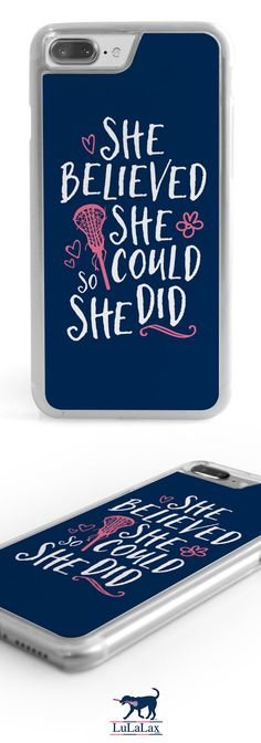 How adorable is this motivational phone case?! Carry your love for lax as well as a bit of girl power where ever you go!
