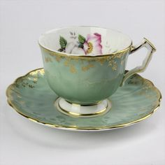 Aynsley ENGLISH BONE CHINA Green Teacup and Saucer, Flowers and Gold Trim Leaves