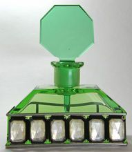 Austrian Jeweled Green Hoffman Perfume Bottle, 1920s