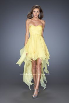 High low yellow dresses for prom