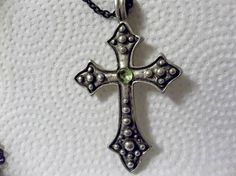 Vintage Cross Pendant, Gothic Cross, Renaissance, Peridot Gemstone, Gothic Jewelry, Birthstone Cross, August Birthstone, Free Shipping US - pinned by pin4etsy.com