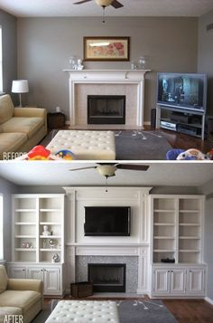 Before & After: Built ins. Can make a room look much larger than it actually interior design home design house design decorating before and after Home And Deco, My New Room, Home Living Room, Living Roon, Living Room Bookcase, Living Room Remodel, Home Projects, Home Remodeling, Home Renovations