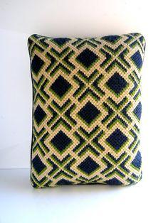 70s Bargello needlepoint decorative pillow  mod navy green
