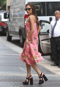 girlie pink dress+ Heavy heels.