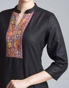 Featuring beautiful Kashmiri embroidery, this silk matka kurta with a contemporary twist is perfect for this season.  Silk Matka Kashmiri Embroidery Chinese Collar 3Q Sleeves Dry Clean Only