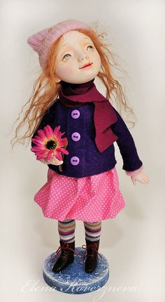You want to make a beautiful and unusual present yourself or someone? Perhaps art doll Polly – is what you need. This art doll - cute little girl - she is warmly dressed, but there is a flower in her hand - a sign of coming spring. Charming face, red soft curls and cute dress of natural fabrics - are tender image of this doll. Polly will be a real decoration of the interior or doll collection.  Her face and hands are made of Paperclay, painted with acrylic, watercolor, pastel. Doll on wire…