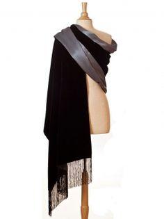 black silk velvet evening wrap with pewter lining