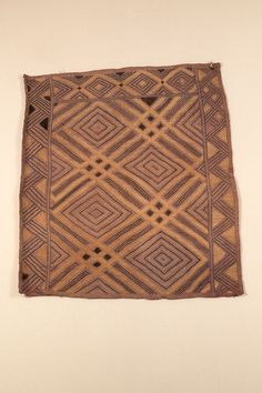 RAFFIA CLOTH WITH CUT-PILE AFRICAN ETHNOGRAPHIC COLLECTION Catalog No: 90.0/ 5193 Culture: KUBA Locale: KASAI PROVINCE Country: ZAIRE?, CONGO? Material: PALM LEAF FIBER Dimensions: L: 76 W: 66 [in CM] Technique: PLAIN WEAVE, CUT-PILE AND STEM STITCH EMBROIDERY Acquisition Year: 1908 [GIFT] Donor: BELGIAN GOVERNMENT