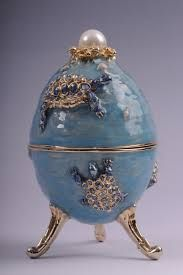 Faberge Egg with turtles & pedant turtle inside, Egg with chicken trinket box