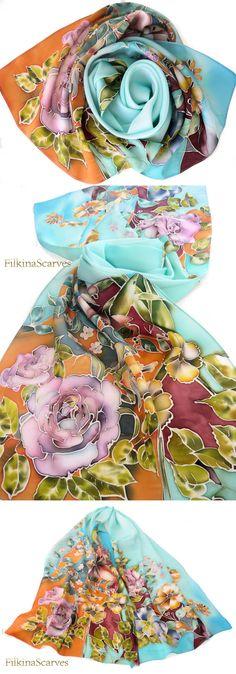 Boho Chic Hand bemalte Seide Schal Satin von FilkinaScarves auf Etsy
