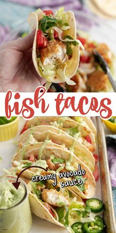 The best Fish Tacos made even tastier with the addition of creamy avocado sauce. Shake things up at your next Taco Tuesday night by surprising everyone with these delicious tacos made with fresh cod. Shellfish Recipes, Seafood Recipes, Mexican Food Recipes, Entree Recipes, Dinner Recipes, Cooking Recipes, Healthy Recipes, Seafood Dinner, Dinner Menu