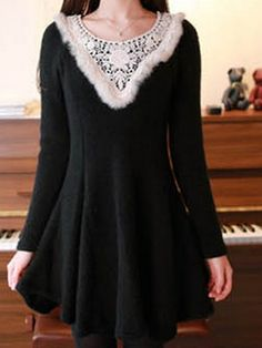 Lace collar long sleeve dress