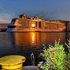 Quantum of the Seas at sunset.