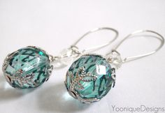 Blue Faceted Glass Bead Earrings with Filigree by YooniqueDesigns, $15.00