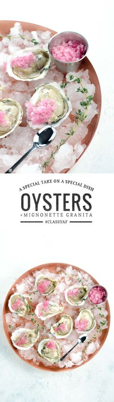 Oysters on the half shell with mignonette granita make an already special hors d'oeuvre even more special. Plus: learn to shuck an oyster in 30 seconds. via @umamigirl