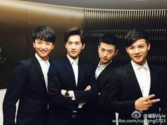 And one of my favorite group of Asian drama guy friends. Wei Wei, Yang Wei, Love O2o Cast, Asian Actors, Korean Actors, Beautiful Smile, Beautiful Boys, Yang Yang Zheng Shuang, Kdrama