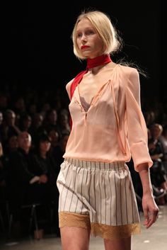 """New Zealand designer Kate Sylvester's Autumn/Winter 2015 collection, 'Tartt', is inspired by the literary world of author Donna Tartt and described as """"a nonchalant, slouchy celebration of casual luxury and sartorial classics""""."""
