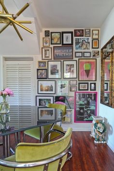 "hellooo gallery wall! // Leslie and Jake's ""Street Cred Granny"" Style in LA House Tour"