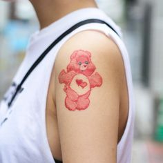 Cute care bear tattoo  #tattoo #tattoos #shouldertattoo #shouldertattoos #armtattoo  #armtattoos #pink #carebear #carebeartattoo #cute #aww #follow