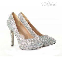 Glittering Sheepskin Upper Stiletto Heel Closed-toe Wedding Shoes