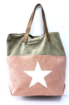 Made in Italy* Canvas/Ledertasche, rosa