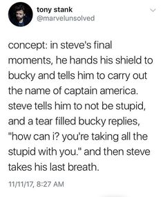 I just legit screamed, I am sorry Cap lovers, (this includes myself) but I am 90% sure Cap is dieing in one of the two Infinity War movies -Sasha
