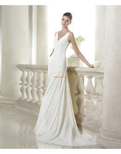 A-line Col en V Mousseline polyester Robes de mariée 2015