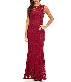 Aidan Aidan Mattox Illusion Neck Lace Sleeveless Gown #Dillards
