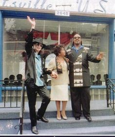 MJ and Stevie Wonder with one of the Gordy sisters (Gwen?) Let me know, fam!