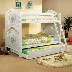 (^o^) Isabella White Finish Duo Twin Size Bunk Bed w Trundle Bunk Beds With Trundle - Blu Dot Dodu King Bed by chaugiang