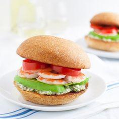Shrimp sandwiches with tarragon-caper mayonnaise.