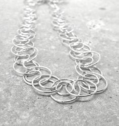 Statement Chain Necklace Long Sterling Silver by GirlBurkeStudios, $95.00