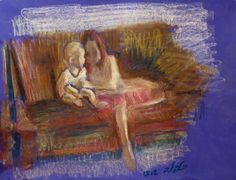 Pastel on Paper Original Signed Painting by Leonid Balaklav Sisters on a Couch Unique Art Painted Signs, Unique Art, Original Paintings, Sisters, Pastel, Couch, Drawings, Prints, Artist