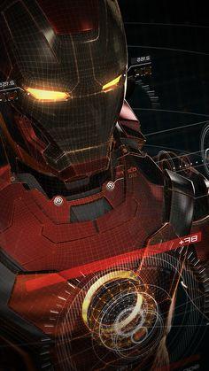 IRONMAN 3D RED GAME AVENGERS ART ILLUSTRATION HERO VIGNETTE WALLPAPER HD IPHONE