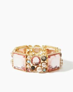 Shop Park Avenue style with this fashion bangle bracelet. This ultra-feminine style features faceted square rhinestones and a mix of colorful crystals and pearls. Perfect statement or stacking piece.