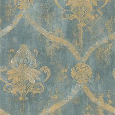 Wallpaper French Faux Aqua Blue Large Damask with Gold in Rolls & Sheets | eBay