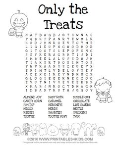 Halloween Treats Word Search : Printables for Kids – free word search puzzles, coloring pages, and other activities