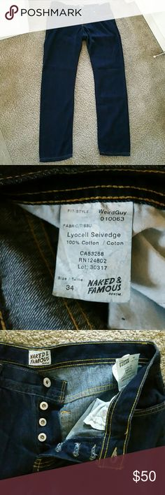 Naked and famous weird guy size 34 Naked and famous weird guy size 34 lyocell selvedge. These have been washed once and worn once. In excellent condition. Inseam is 32 inches. These jeans are extremely comfortable. They look like jeans but feel like pajamas that's how soft and stretchy these are. Naked & Famous Denim Jeans Slim Straight