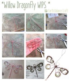 Willow Dragonfly Work in Progress Photographs with Copper Wire Work with Gem Stones. Handmade Craft for the Home and Garden.