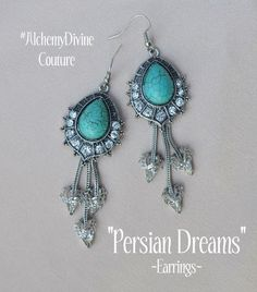 Chandelier Earrings Art Deco Turquoise Vintage by AlchemyDivine  https://www.etsy.com/listing/220985964/chandelier-earrings-art-deco-turquoise