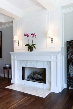 Cozy Fireplace, Living Room With Fireplace, Fireplace Surrounds, Fireplace Design, Fireplace Ideas, Fireplace Makeovers, White Fireplace Surround, Off Center Fireplace, Tile Around Fireplace