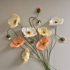 Crepe Paper Iceland Poppy Bouquet Wedding Flowers by NectarHollow