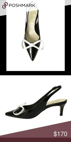 """GORGEOUS SLINGBACK HEELS BY BUTTER Prance around in style in this elegant pointy-toe sling back! The polished patent leather heel and bow are sure to bring a fashionable and comfortable flair to your shoe collection, a la Audrey Hepburn.  Measures: 2.5"""" heel  Brand: Butter  Made in: Italy  Retail price: 300.00.      SZ 8.5 BUT fit like a SZ 8. Butter Shoes"""