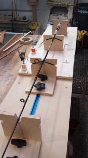 Fishing Rod Wrapping Jig - Homemade fishing rod wrapping jig constructed from plywood, T-track, and hardware. Supports 12