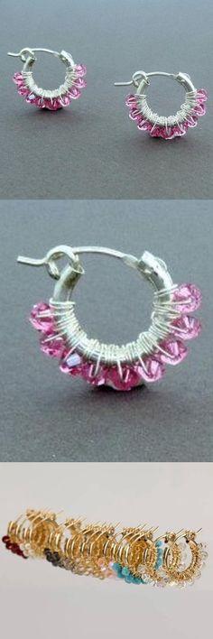 #Gipsy #Earrings, #pink earring, Wire Wrap Sterling #Silver #Hoop Earrings, small Hoop Earrings, #Light #Rose Hoop Earrings, #Women earrings, #Girl Earring, gift for girl, gift  #jewelry #earrings #silver #pink #women #sterlingsilver #swarovskiearrings #lightrose #rose