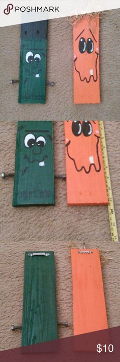 Lot of 2 - Halloween wall decor Handmade/hand painted Rough cut board Hangers on  back Both are sprayed with a clear coat  ** I am not a professional, I just have fun creating** Other