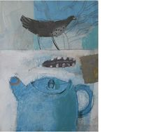 Elaine Pamphilon. Tea time visitor St. Ives. Mixed media on wooden panel.