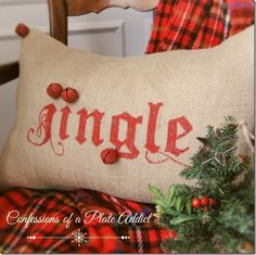 A Handmade Christmas...Pottery Barn Inspired Jingle Pillow - CONFESSIONS OF A PLATE ADDICT